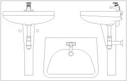 Wash basin block dwg file