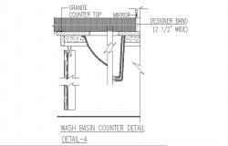 Wash basin counter cad structure details dwg file