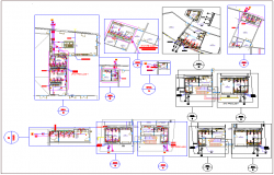 Washroom toilet water connection pipe section view - Floor plan dwg