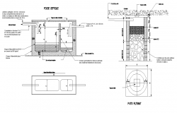 Water Filtration tank detail elevation and plan 2d view layout file
