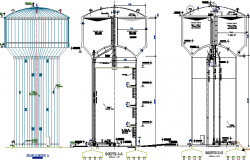 Water Reservoir Tower Architecture Project dwg file