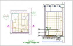 Water closer(WC) system of washing area plan and section view for apartment dwg file