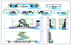 Water fall details of fountain of garden dwg file