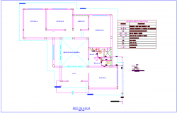 Water network plan with pipe joint with its legend of office dwg file
