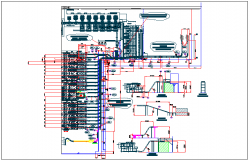Water plumbing pipe connections and channel detail view dwg file