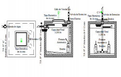 Water reservoir tank construction details dwg file