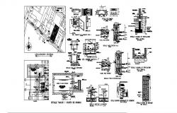 Water septic tank section, plan and constructive structure cad drawing details dwg file