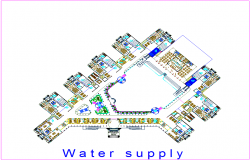 Water supply system of court design dwg file