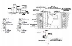 Water tank and gas installation cad drawing details dwg file