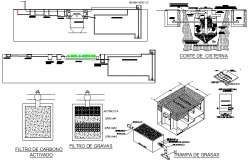 Water tank details with water installation dwg file