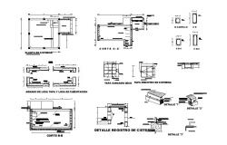 Water tank section, foundation and construction details dwg file