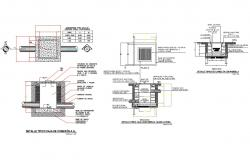 Water tank section, plan, construction and plumbing details dwg file
