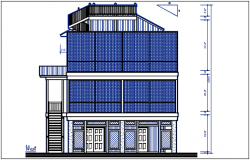 West elevation view of bungalow dwg file
