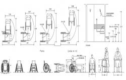 Wheel Chair Elevation Design 2d AutoCAD Drawing Free Download