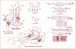 Wheel barrow design with isomeric view