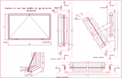 Window design view with horizontal axis folding leaf dwg file