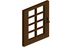 Window design view with wooden frame in 3d dwg file