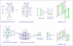 Window design with elevation,section and isometric view dwg file
