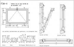 Window of a folding leaf with sectional view & different pattern view dwg file