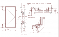 Window of folding sheet with vertical axis and sectional view dwg file