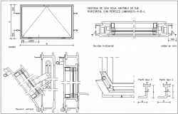 Window view of folding axle leaf, laminated profile, section view dwg file