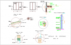Window view with window sectional detail view dwg file