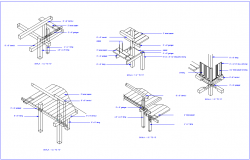 Wood structure with isometric view dwg file