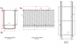 Wood timbering plan and section detail dwg file