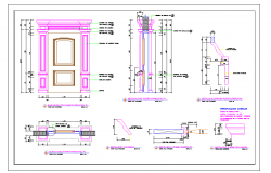 Wooden Main Door detail drawing DWG file