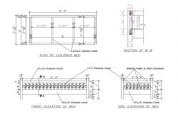 Wooden bed elevation, section and plan details dwg file