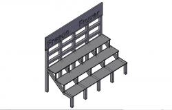Wooden bench 3d elevation cad drawing details dwg file