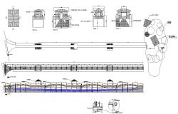 Wooden bridge structure detail plan and elevation 2d view CAD structural block autocad file