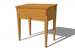 Wooden children desk with one drawer 3d drawing details skp file