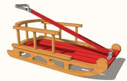 Wooden children snow sled 3d cad drawing details skp file