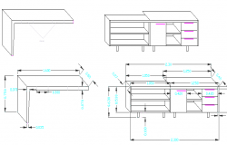 Wooden desk architecture design dwg file