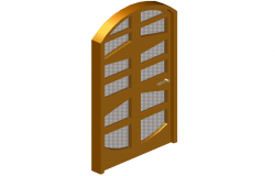 Wooden door 3d view