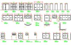 Wooden door and aluminum window blocks details dwg file