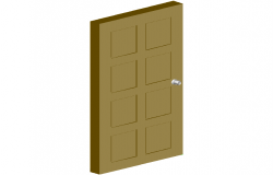 Wooden door design 3d view with square shaped design