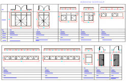 Wooden doors and windows installation details of building dwg file