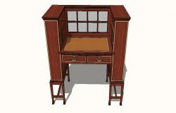 Wooden drawer table cabinet 3d model cad drawing details skp file