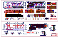 Wooden hostel plan with Layout and Elevation dwg file