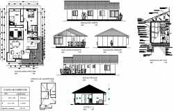 Wooden house plan, elevation and section detail dwg file