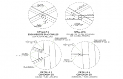 Wooden joint section detail dwg file