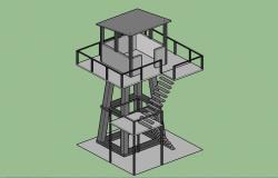 Wooden look out garden tower 3d elevation cad drawing details skp file