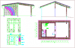 Wooden panel design with front view dwg file