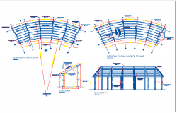Wooden pergola and grass roof details of private garden dwg file