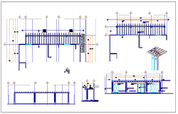 Wooden pergola of garden architecture project dwg file