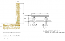 Wooden plan and elevation detail dwg file