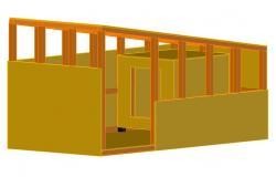 Wooden shelter house type 3d drawing details dwg file