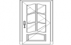 Wooden single door cad design details dwg file
